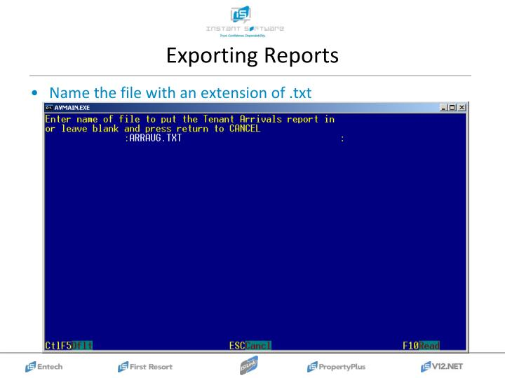 Exporting Reports