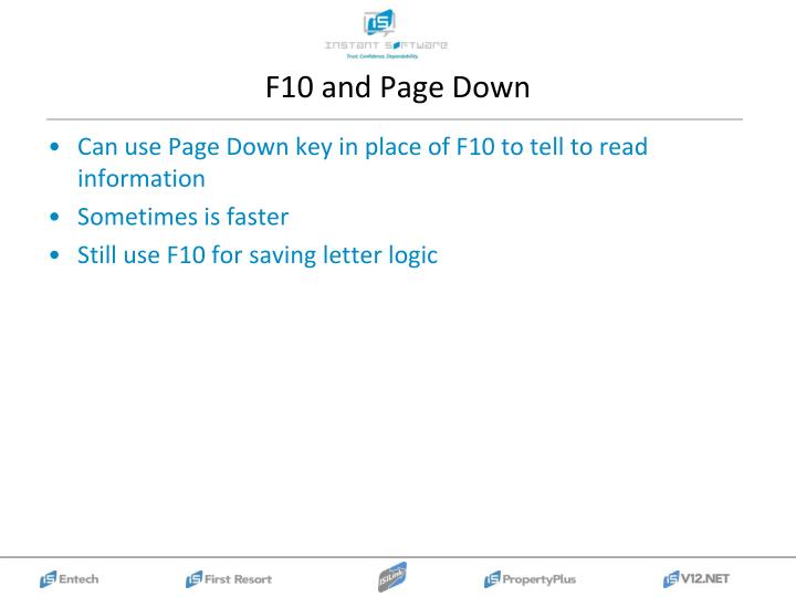 F10 and Page Down