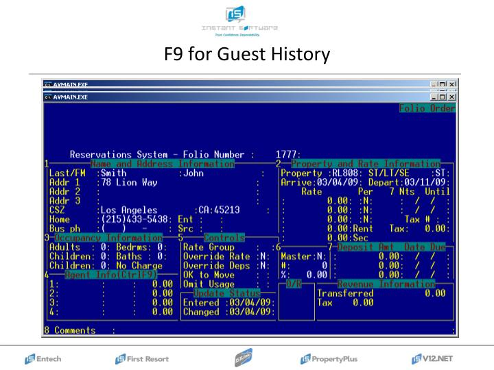 F9 for Guest History