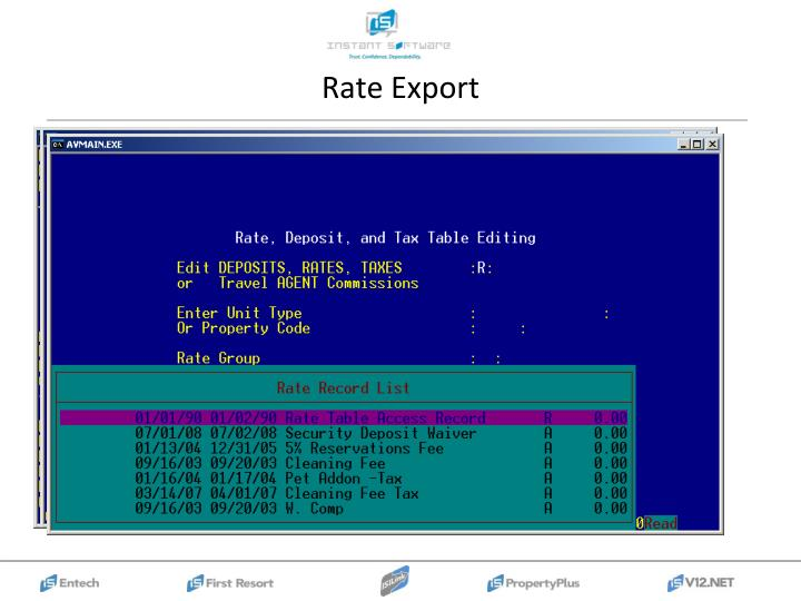 Rate Export