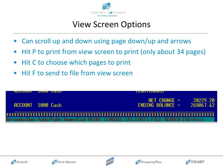 View Screen Options