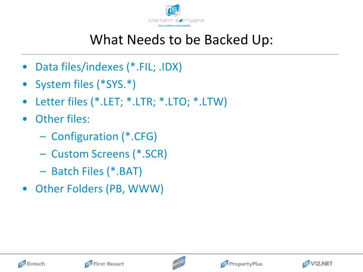 What Needs to be Backed Up: