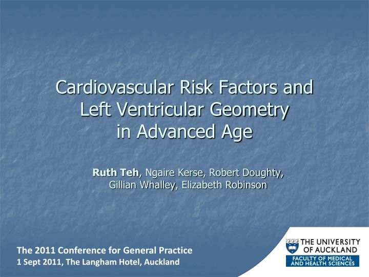 Cardiovascular risk factors and left ventricular geometry in advanced age