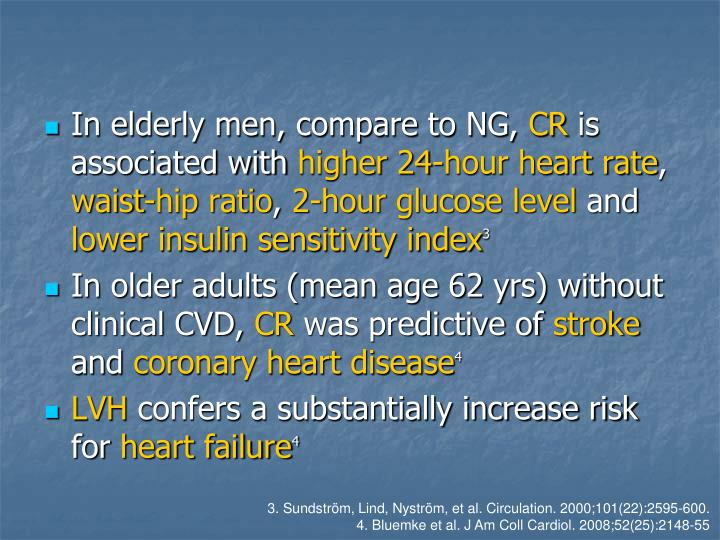 In elderly men, compare to NG,