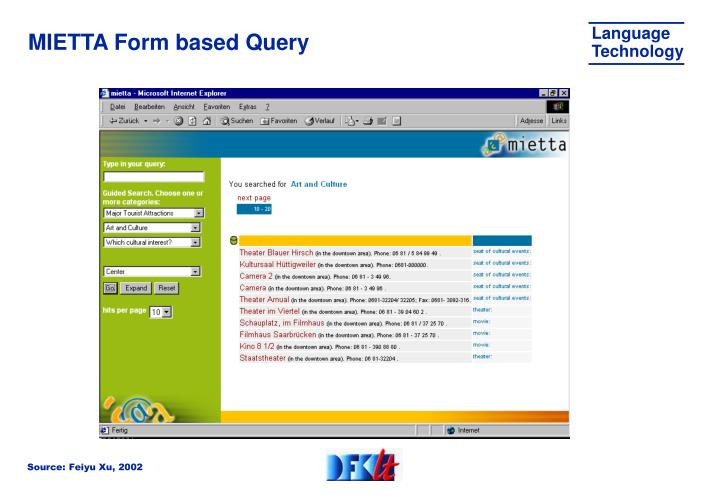 MIETTA Form based Query