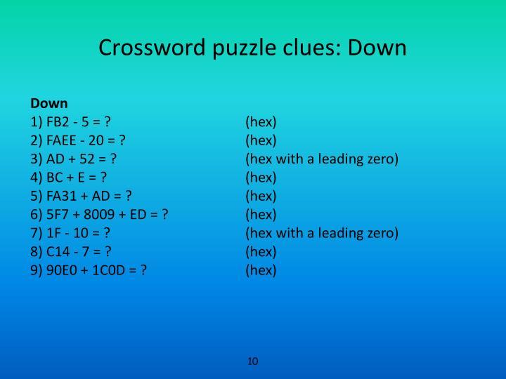 Crossword puzzle clues: Down