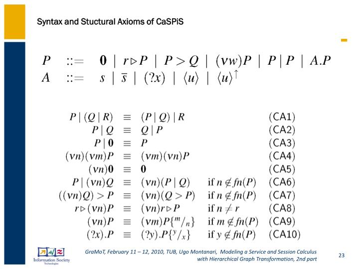 Syntax and Stuctural Axioms of CaSPiS
