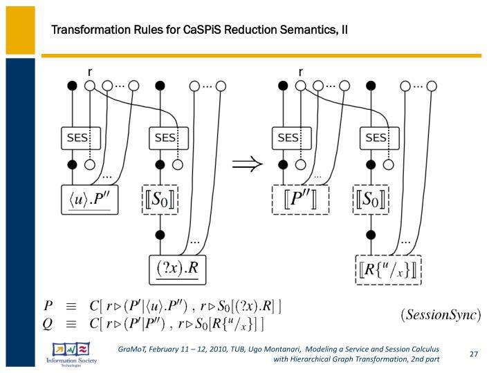 Transformation Rules for CaSPiS Reduction Semantics, II