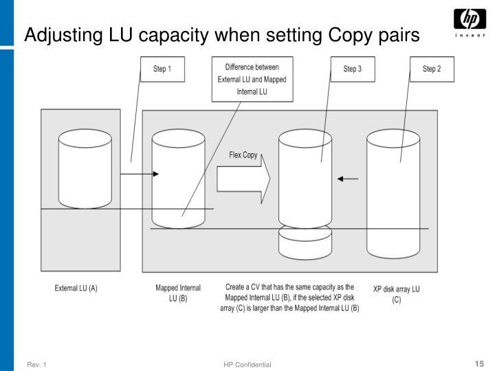 Adjusting LU capacity when setting Copy pairs