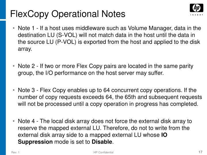 FlexCopy Operational Notes