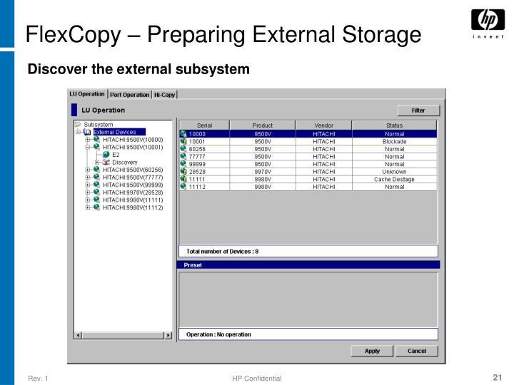 FlexCopy – Preparing External Storage