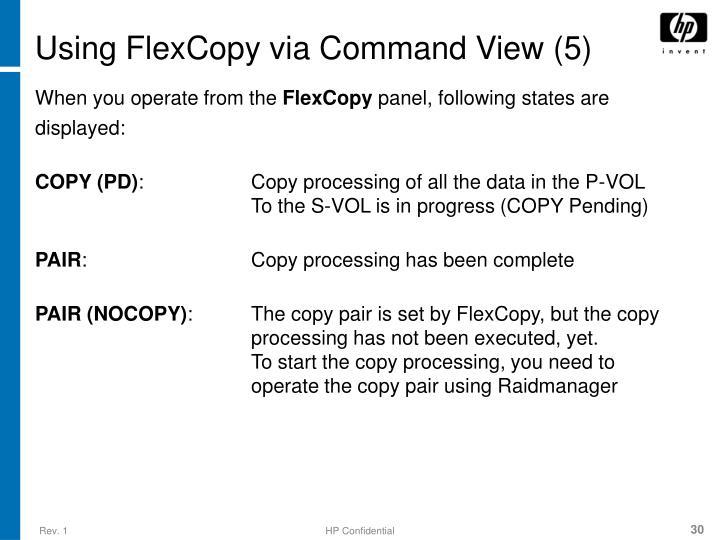 Using FlexCopy via Command View (5)