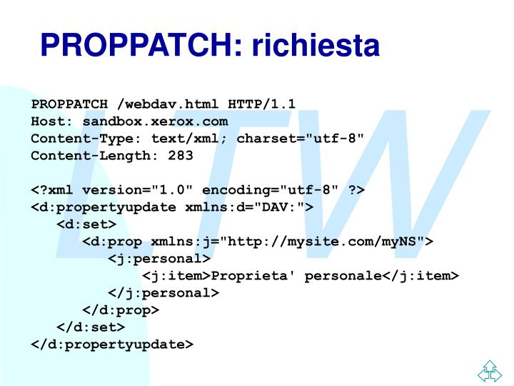 PROPPATCH: richiesta