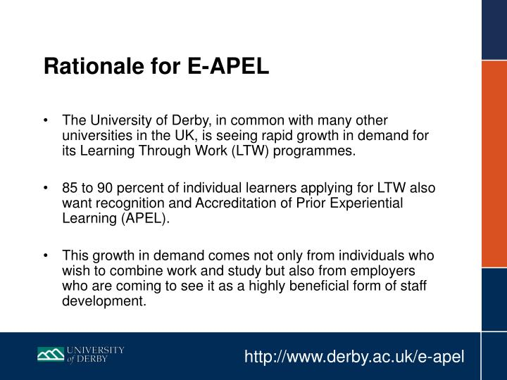 Rationale for e apel
