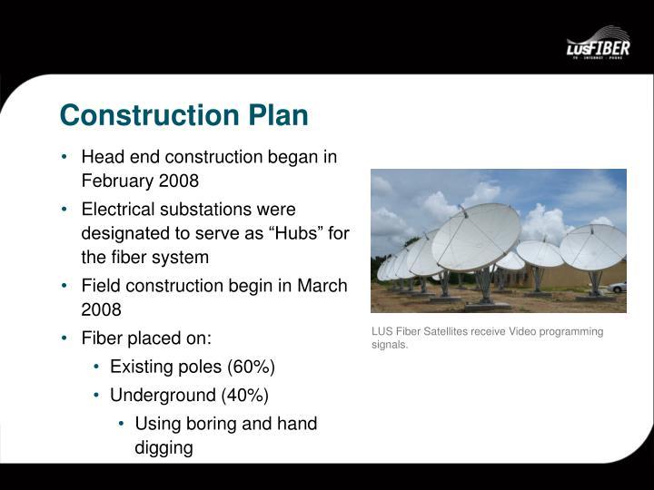 LUS Fiber Satellites receive Video programming signals.