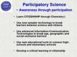 participatory science awareness through participation