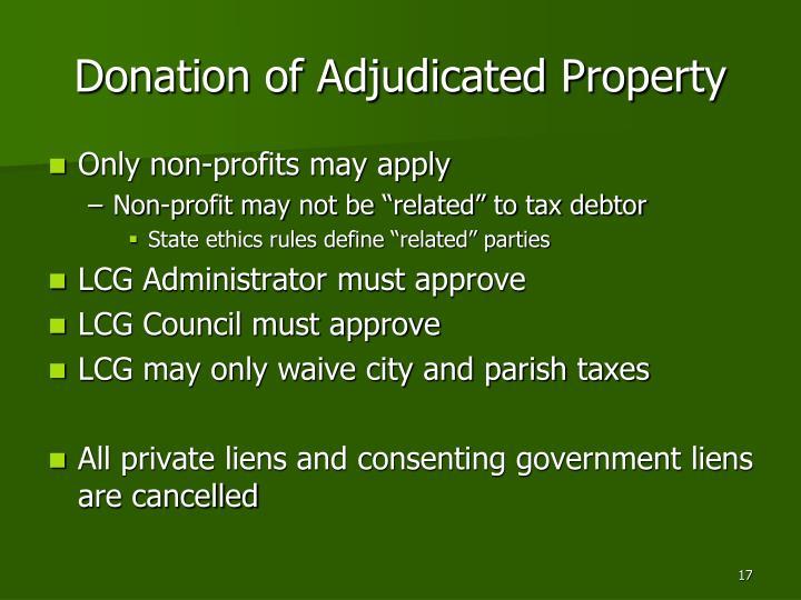 Donation of Adjudicated Property