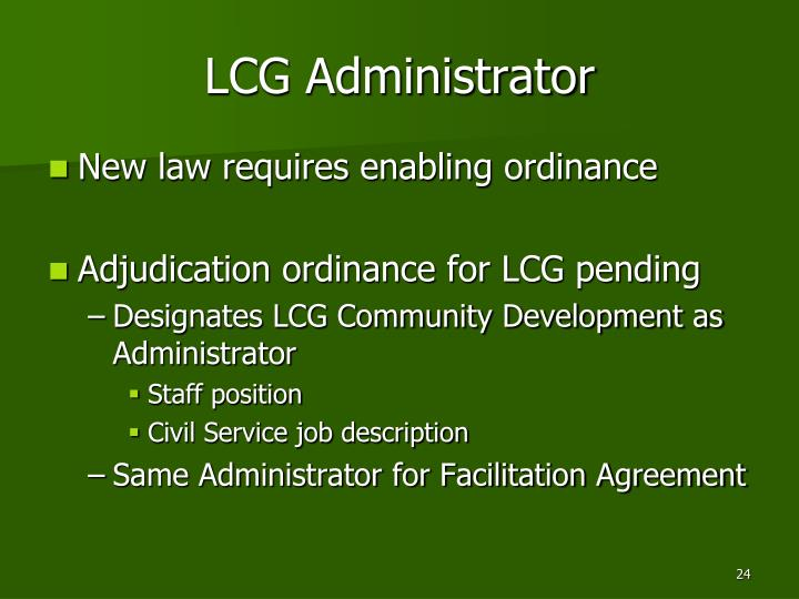 LCG Administrator