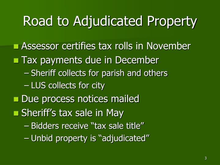Road to adjudicated property