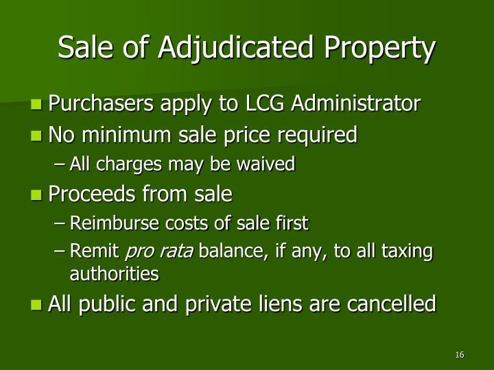 Sale of Adjudicated Property