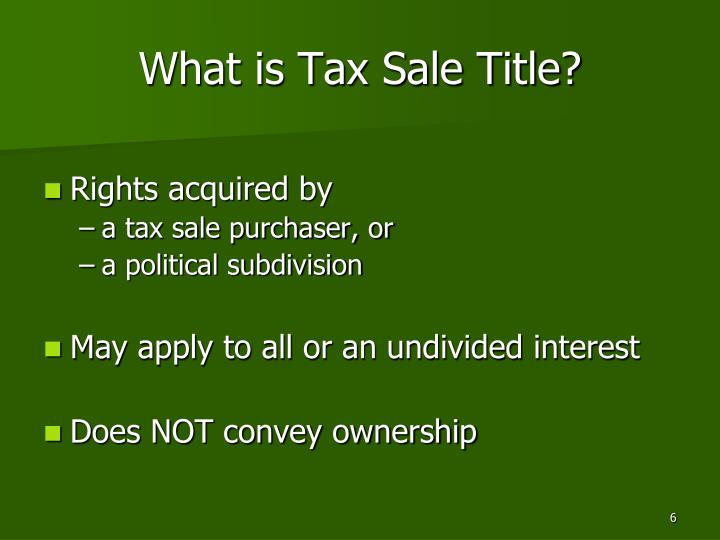 What is Tax Sale Title?