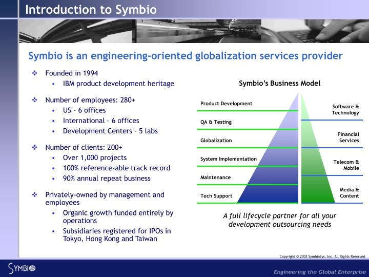 Symbio is an engineering oriented globalization services provider