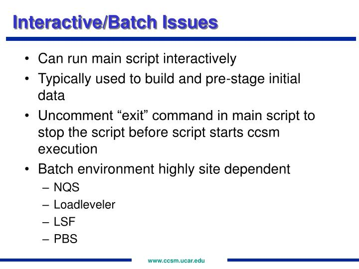 Interactive/Batch Issues