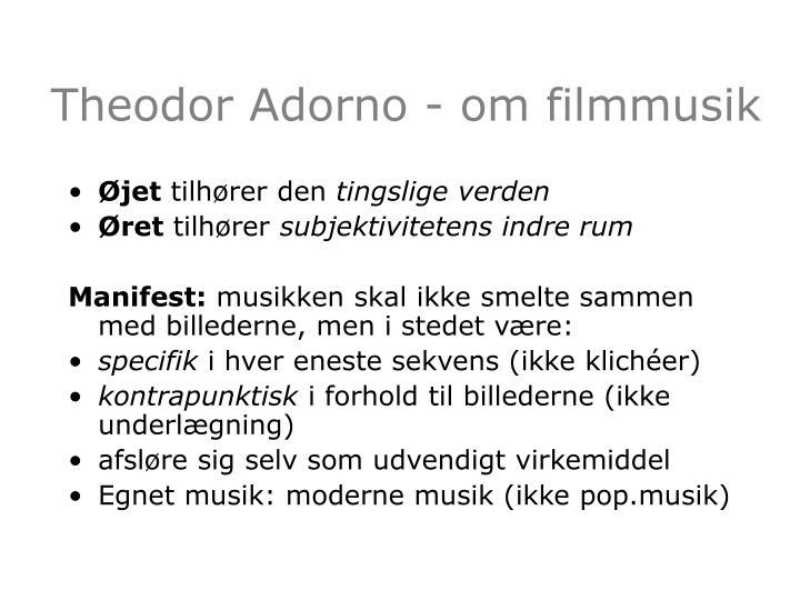 Theodor Adorno - om filmmusik