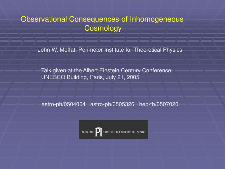 Observational Consequences of Inhomogeneous