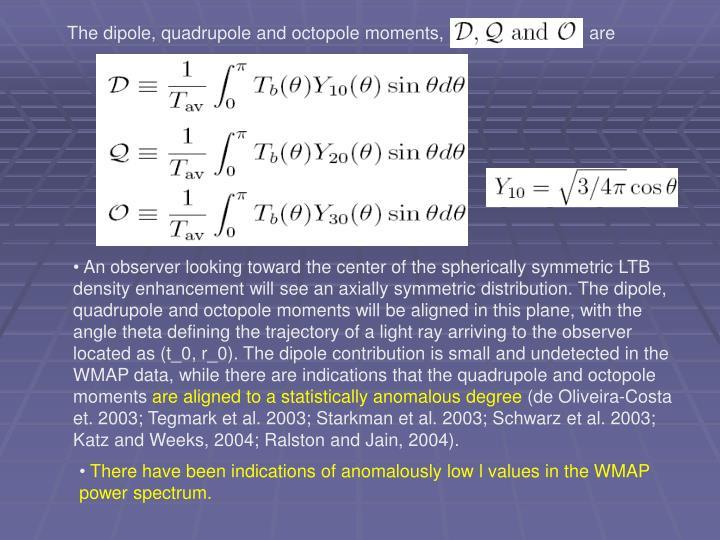 The dipole, quadrupole and octopole moments,