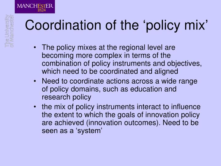Coordination of the 'policy mix'