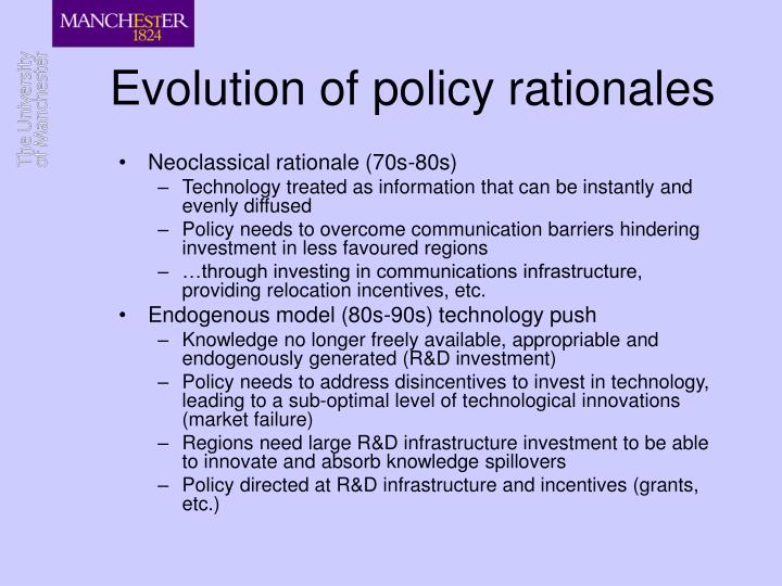 Evolution of policy rationales