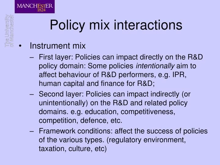 Policy mix interactions