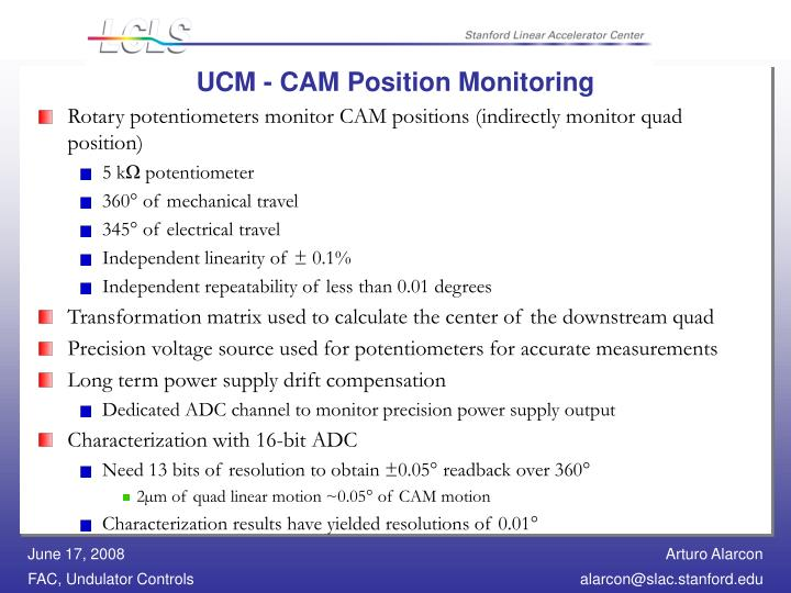 UCM - CAM Position Monitoring
