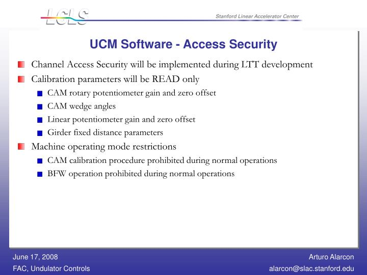 UCM Software - Access Security