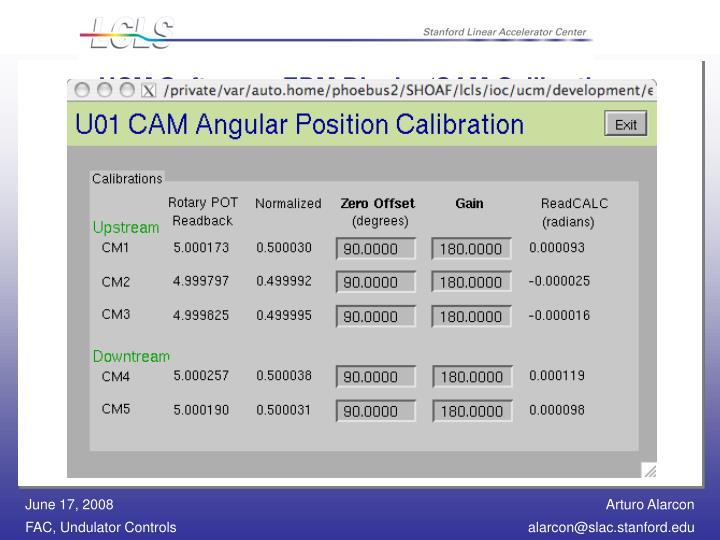 UCM Software - EDM Display/CAM Calibration