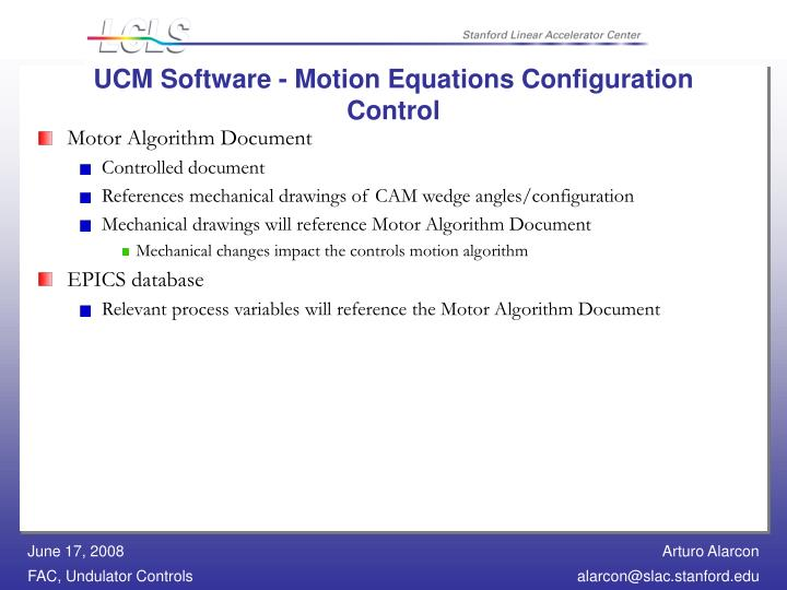 UCM Software - Motion Equations Configuration Control