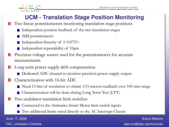 UCM - Translation Stage Position Monitoring