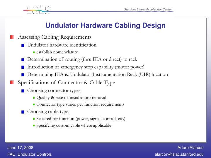Undulator Hardware Cabling Design