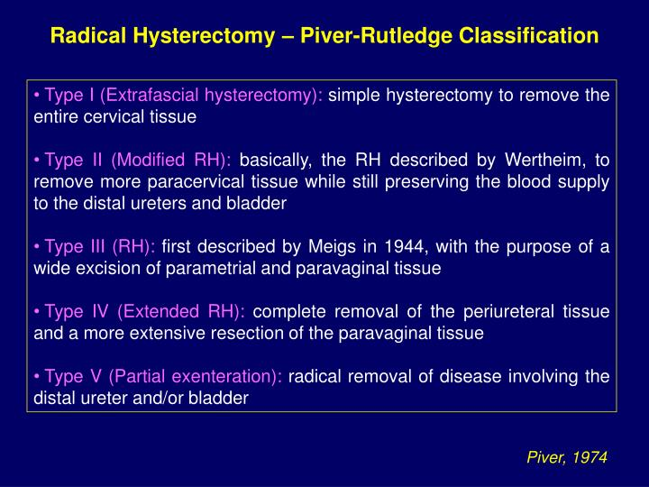 Radical Hysterectomy – Piver-Rutledge Classification