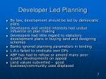 developer led planning