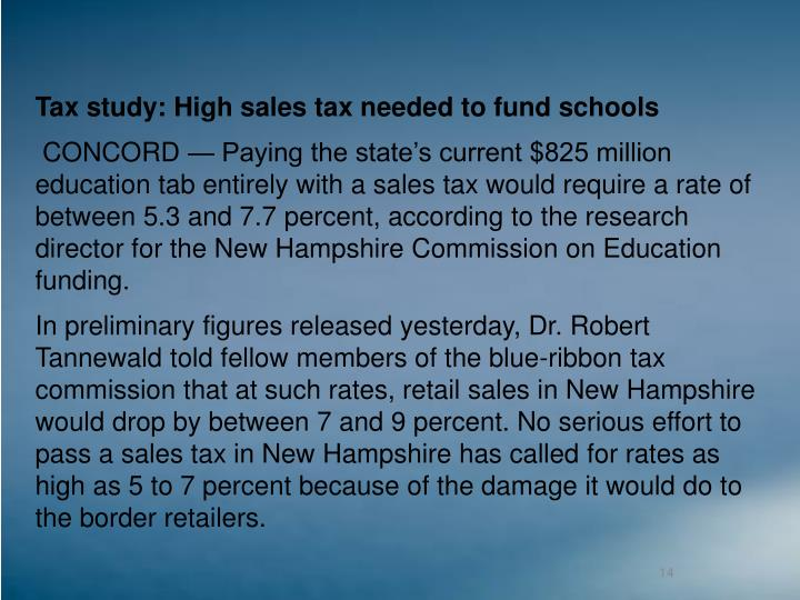 Tax study: High sales tax needed to fund schools