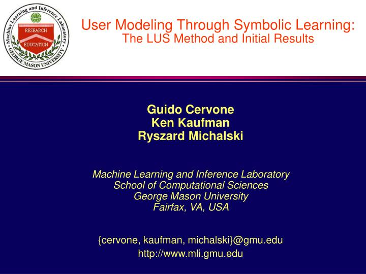 user modeling through symbolic learning the lus method and initial results n.
