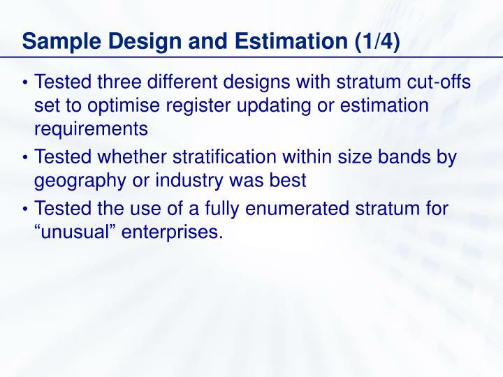 Sample Design and Estimation (1/4)