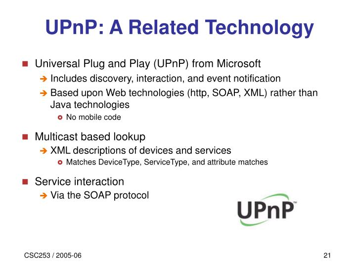 UPnP: A Related Technology