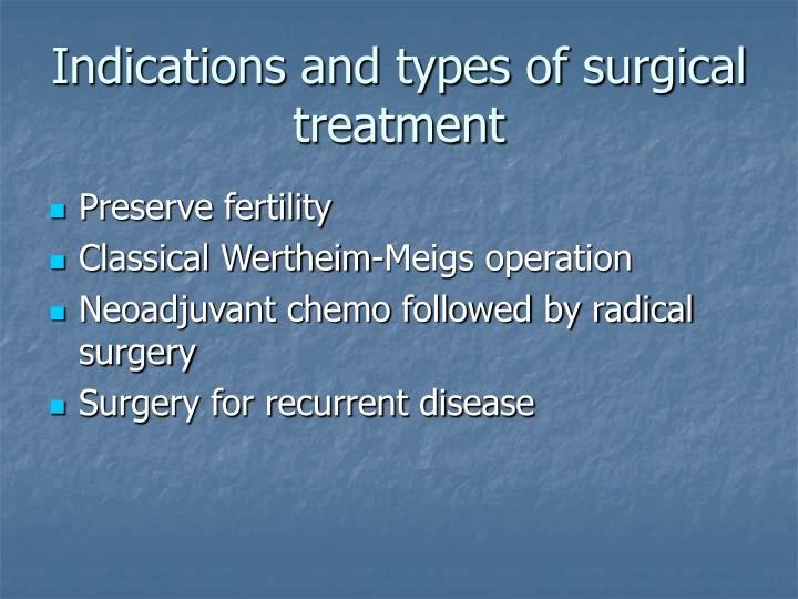Indications and types of surgical treatment