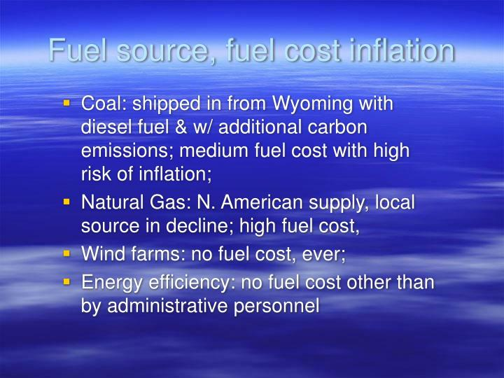 Fuel source, fuel cost inflation
