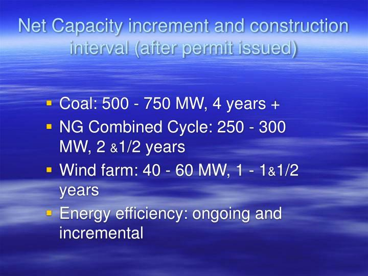 Net Capacity increment and construction interval (after permit issued)