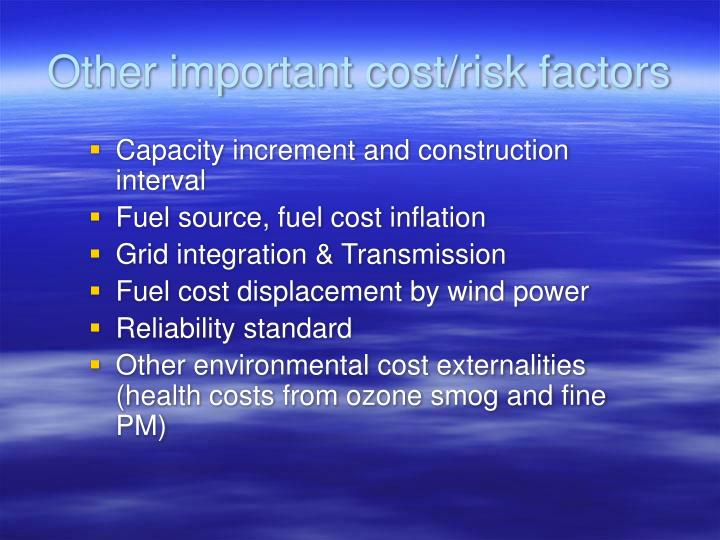 Other important cost/risk factors