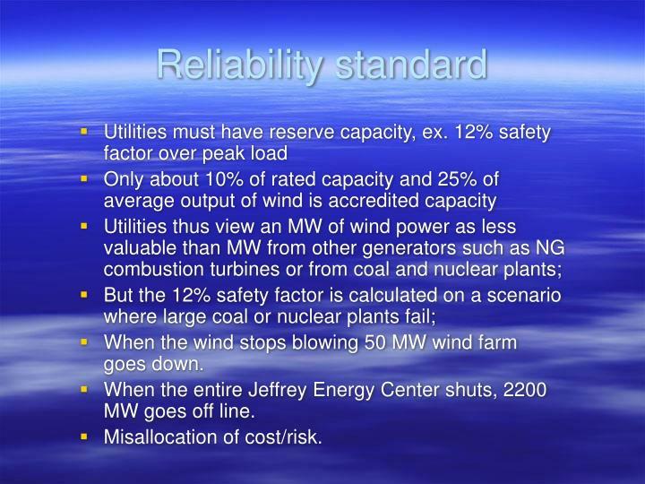 Reliability standard